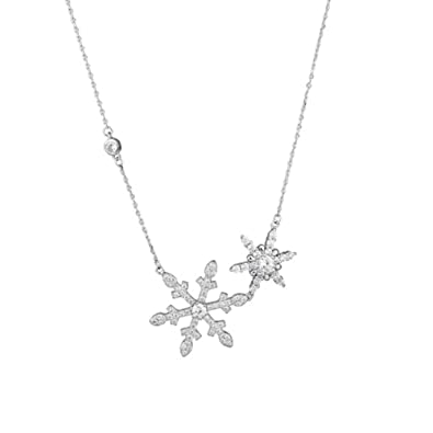 Uniqueen Ladies swarovski element sterling silver crystal snowflake pendant necklace for women Christmas Gifts MyaOlsxLZ