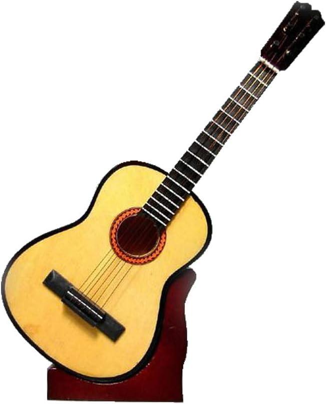 2503-1135-Guitarra española decorativa miniatura en madera, 16 centimetros. Con estuche y soporte: Amazon.es: Instrumentos musicales