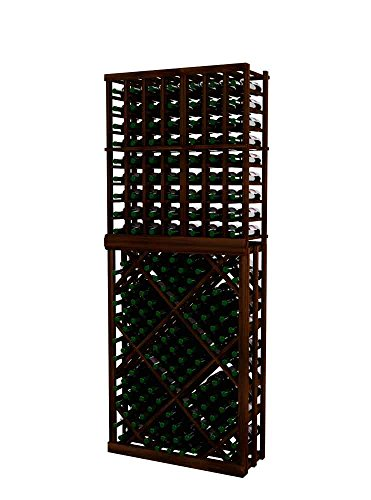 Vintner Series Wine Rack - Individual Bottle Wine Rack with Open Diamond Bin for 135 Bottles - 7 Ft - Pine with Dark Walnut Stain