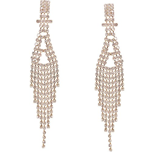 Art Deco Stud - Humble Chic Darling Waterfall Tassel Earrings CZ Simulated Diamond Statement Studs, Gold-Tone Art Deco