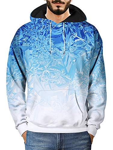 - XXTAXN Men 3D Print Pullover Hoodie Sweatshirt with Kangaroo Pocket,Blue Ice Crystal,XX-Large