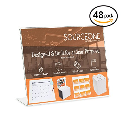 Source One 11 x 8 1/2 Slant Back Clear Acrylic Sign Holder Premium Landscape Ad Frame (48 Pack) by SourceOne