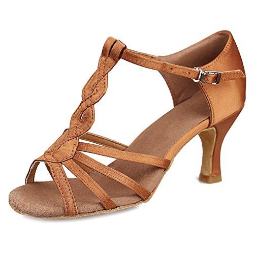 HROYL Mujer Zapatos de Baile Latino Satin Salón de Baile 230 7CM Marrón