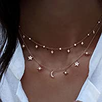 wanmanee New Multilayer Choker Necklace Star Moon Chain Gold Women Jewelry Fashion