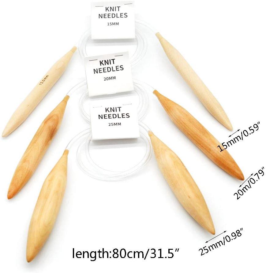 GHBOTTOM 3pcs 15//20//25mm Legno Colorato Ferri circolari Maglia Plastica Maglione Uncinetto Uncinetto