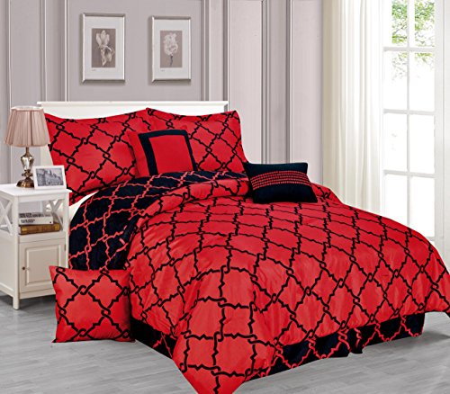Geometirc Modern 7-Piece Reversible Comforter Set Soft Bedding Oversized Bed in a Bag SALE!!! (Full, Red & Black)  bedding set 7 piece | Amy Miller 7-Piece Cat Print Bed & Comforter Set 51T5ZS52NDL