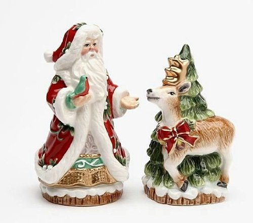 Elegant Victorian Harvest Santa and Reindeer Salt and Pepper (Holiday Santa Salt)