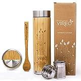 Vireo Tea Bottle - Tea Tumbler - Tea Infuser Bottle Mug Cup - Bamboo Tumbler - Tea Thermos Travel Bottle - Bamboo Mug - Hot Cold Tea Eco-Friendly (480 Milliliters  16.2 Ounce)