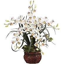 Nearly Natural 1245-WH Cymbidium with Decorative Vase Silk Arrangement, White