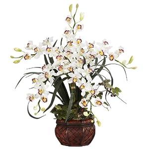 Nearly Natural 1245-WH Cymbidium with Decorative Vase Silk Arrangement, White 82
