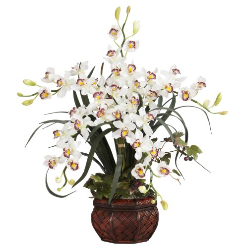 Nearly Natural 1245-WH Cymbidium with Decorative Vase Sil...
