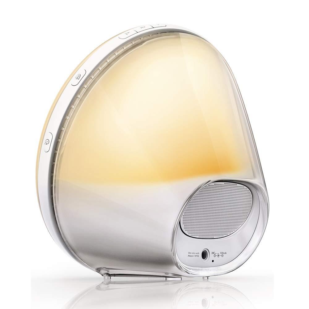 Philips Despertador HF3520/01 - Despertador de Luz LEZ, Radio FM, Simulación del Amanecer y del Atardecer, 5 Sonidos Naturales, 1 Alarma, 300 Lux, ...
