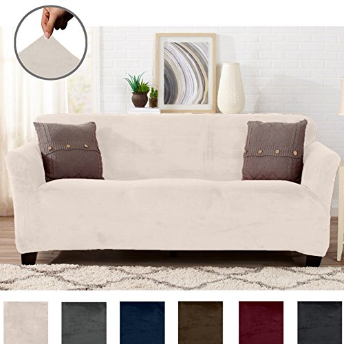 great bay home modern velvet plush strapless slipcover. form fit stretch, stylish furniture cover/protector. gale collection by brand. (sofa, silver cloud)
