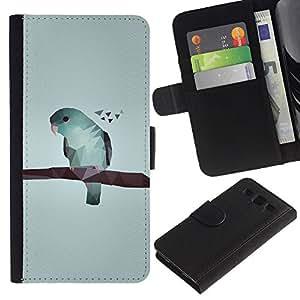 LASTONE PHONE CASE / Lujo Billetera de Cuero Caso del tirón Titular de la tarjeta Flip Carcasa Funda para Samsung Galaxy S3 III I9300 / Art Gray Minimalistic Blue