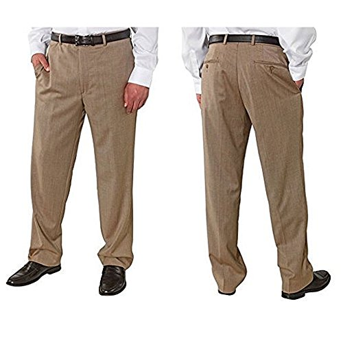 Kirkland Signature Men's Wool Gabardine Pleated, Dress Slack Pant, Tan Herringbone, Size 34X36