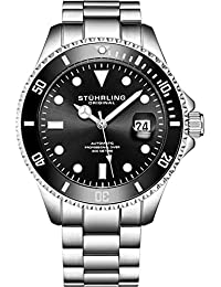 Mens Stainless Steel Automatic Self Wind Dive Watch Deep Black Dial 200M Water Resistant Unidirectional Ratcheting Bezel Screw Down Crown Sport Watch 792 Series