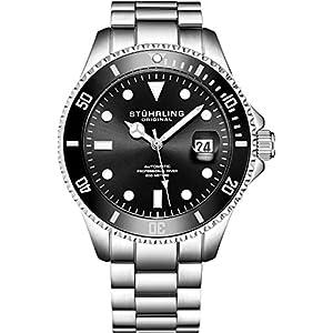 Stuhrling Original Ed. Ltd Reloj de Buceo Cuerda Automática para Hombre con Dial Negro Resistente al Agua a 200M Unidireccional con Bisel Trinquete y Pulsera Acero Inox. Sólido, Corona De Rosca