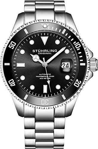 (Stuhrling Original Mens Stainless Steel Automatic Self Wind Dive Watch Deep Black Dial 200M Water Resistant Unidirectional Ratcheting Bezel Screw Down Crown Sport Watch 792 Series)
