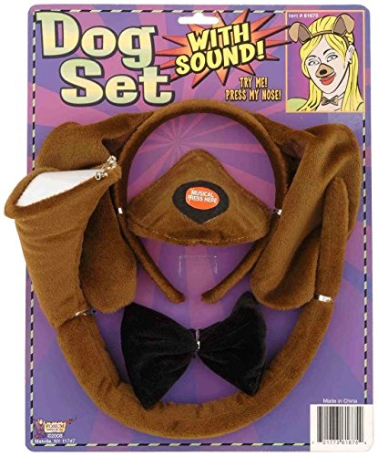 Forum Novelties Animal Costume Set Brown Dog Ears Nose Tail with Sound Effects -