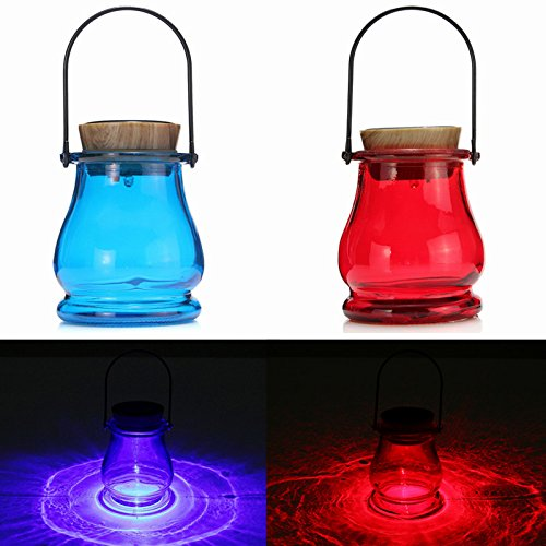 Solar Powered LED Lantern Table Aurora Sensor Garden Yard Night Lamp Light (Red)