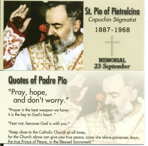 - Saint Padre Pio Holy Prayer Card-Stigmatist Photo with He Lives Cross Bookmark