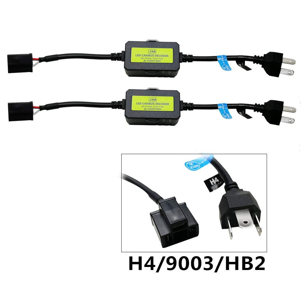 AnyCar Led Headlight Decoder H4 HB2 9003 Canbus Resistor Anti-flicker Harness Headlight Bulb Decoder for LED Headlight Warning H4//HB2//9003