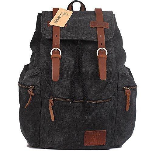 AUKMONT Vintage Canvas Rucksack Damen Herren Schulrucksack Retro Backpack für Stendenten Outdoor Reise Wandern Camping Rucksäcke 19L Schwarz #221