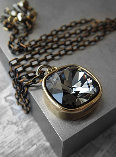 (Black Night Pendant Necklace with Swarovski Crystal in Gold Plated Bezel, Gold-Black Box Chain)