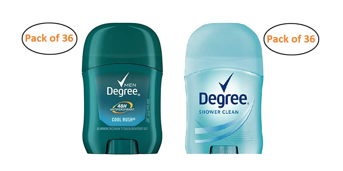 Degree Antiperspirant Deodorant 0.5 Ounce Variety Pack 36 Cool Rush 36 Shower Clean