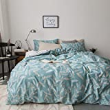 Duvet Cover Set Twin Size 3 Piece (1pc Duvet Cover + 1pc Flat Sheet + 1pc Pillowsham) by WarmGo, 100% Cotton Bedding Set Elegant Floral Flower Pattern - Not Include Comforter