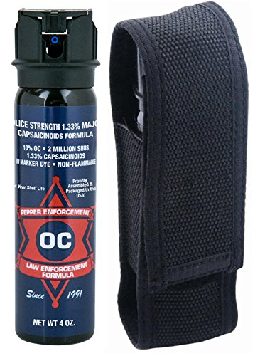 - Pepper Enforcement 4 oz. Foam 10% OC Pepper Spray & Tactical Belt Loop Holster - CANNOT BE SHIPPED TO CALIFORNIA, FLORIDA, MICHIGAN, NEVADA, NEW JERSEY, NEW YORK, SOUTH CAROLINA