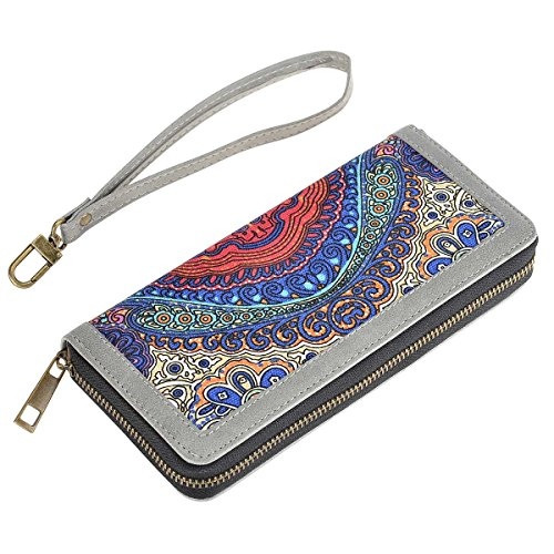 HAWEE Long Clutch Wallet PU Leather Zipper Purse with Wristlets Canvas Floral Printing for Women, Grey