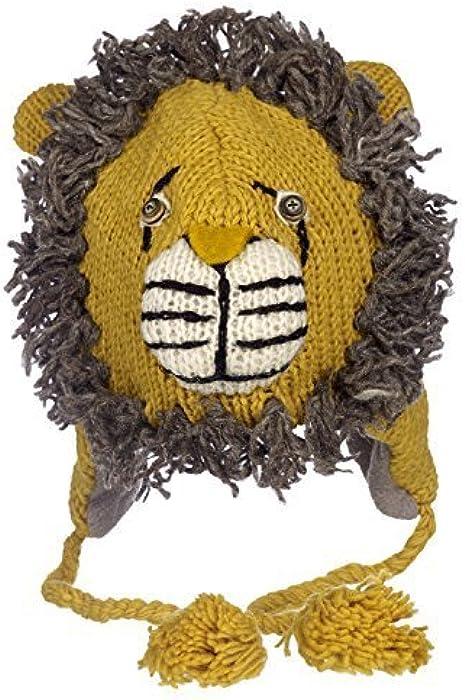 Diversión león Hecho A Mano Invierno Lana Animal Gorro con Forro Polar 1ea565c8dcd