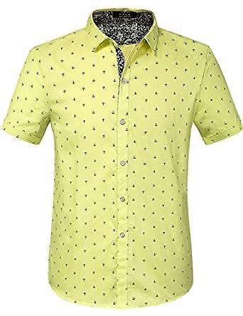 SSLR Men's Printing Button Down Casual Short Sleeve Shirts (Small, Lemon-Yellow)