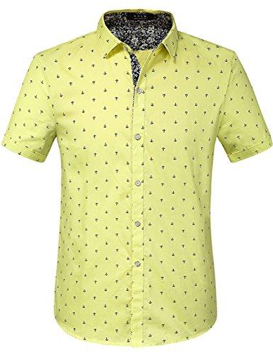 SSLR Men's Printed Regular-Fit 100% Cotton Short Sleeve Casual Shirts (XX-Large, Lemon Yellow (168-64)) (Jesse Work Shirts)