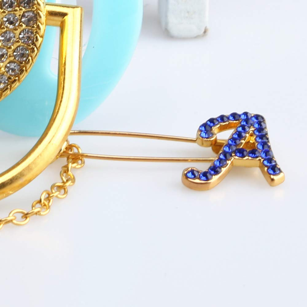 Monogram Blue Letter A Design Pacifier+Chains Set Handmade Mosaic Bling Rhinestone Gifts for Baby Infants