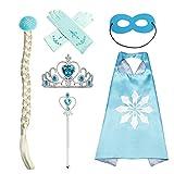 #9: Princess Dress UP Accessories Blue 6 Pieces Set.Crown,Gloves,Hair,Wand,Cloak,Mask