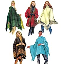 MCCALLS 4228 MISSES PONCHOS & REVERSIBLE HOODED PONCHOS AND WRAPS (SIZE X-SMALL, SMALL, MED) SEWING PATTERN
