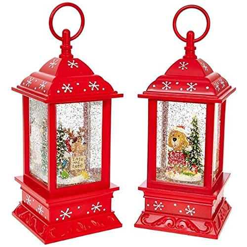 11'' Battery Operated Red Christmas Pup Puppy Lanterns with Timer (Set of 2)