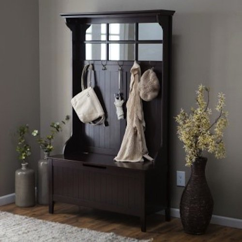 Espresso Entryway Hall Tree with Mirror Coat Hooks and Storage Bench (Black, 1)