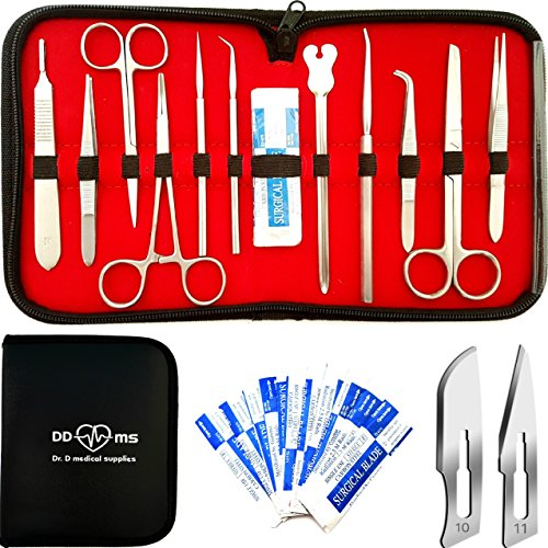 (22 Pcs Advanced Dissection Kit For Anatomy and Biology Medical Students With Scalpel Knife Handle - 11 Blades - Case - Lab Veterinary Botany Stainless Steel Dissecting Tool Set For Frogs Animals etc)