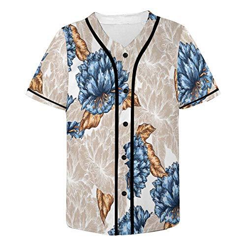 InterestPrint Men's Floral Garden Baseball Jersey T-Shirts Plain Button Down Sports Tee M