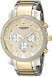 Akribos XXIV Men's AK439TT Grandiose Diamond Quartz Chronograph Gold Dial Watch