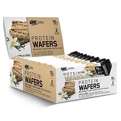 OPTIMUM NUTRITION Protein Wafers, Protein Bars, On The Go, Low carb, Low Sugar, Dessert Protein, Flavor: Vanilla, 9 Count