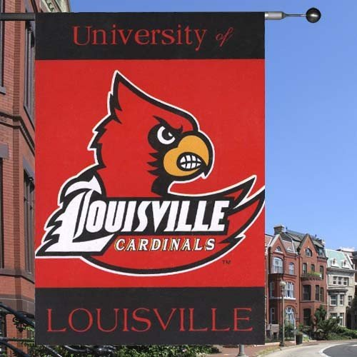 NCAA Louisville Cardinals 2-Sided 28-by-40 inch House Banner with Pole - Shops Louisville