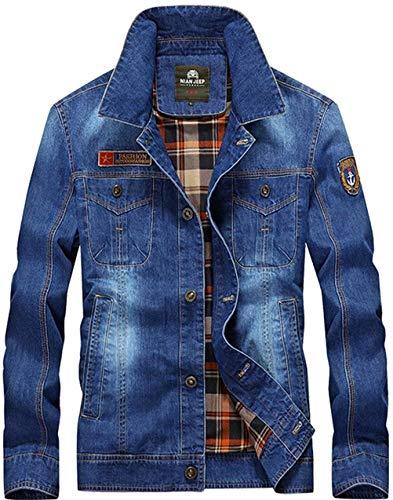 Coat Coat Faux Abiti Blau Fur Fur Jacket Comode Denim Men HX Taglie fashion A Coat Denim Maniche Risvolto Classic Lunghe Casual Denim Ntel Licht Uomo Thick Men's qw8Bwz