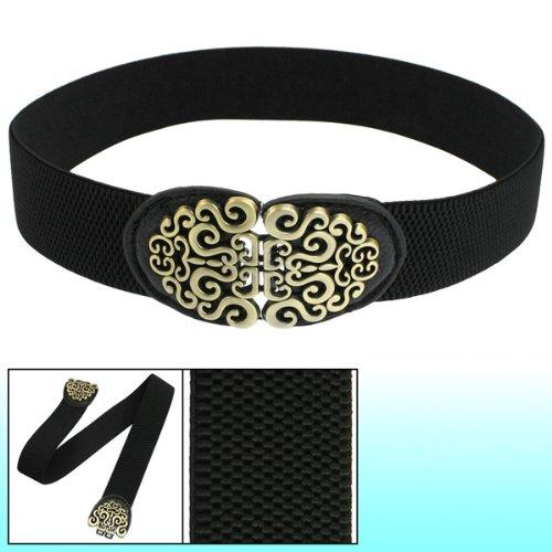 Gleader Cintura elastica nero Fibbia in tono bronzo per donna 008626
