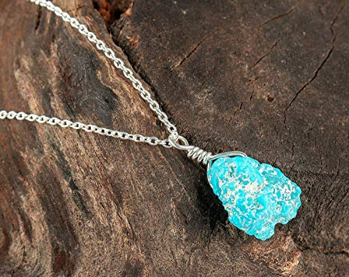 Raw Turquoise Gemstone Crystal Necklace, Rough Turquoise, Rough Genuine Turquoise Rock, 925 Sterling Silver Chain, Natural Turquoise Gemstone, Raw Gemstone Necklace, Dainty Jewelry
