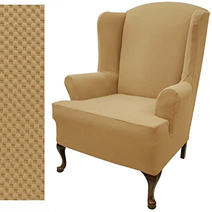 wing chair slipcover stretch pique gold nugget 709 - Wing Chair Slipcover