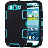 S3 Case,Galaxy S3 Case - ULAK 3in1 Hybrid Dust Scratch Shock Resistance Anti-slip Cover Rubber Combo Case for Samsung Galaxy S3 III i9300 [Rigid Plastic+Soft Silicone] (Teal/Black)